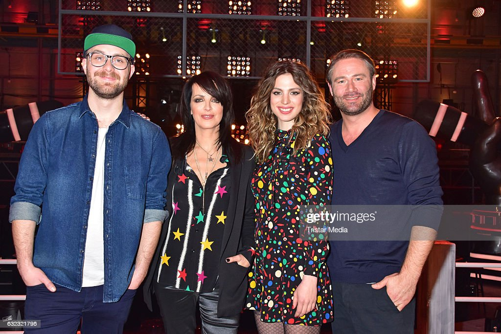 German singer Mark Forster, german singer Nena and her daughter Larissa Kerner and german singer Sasha during the 'The Voice Kids' photo call on January 21, 2017 in Berlin, Germany.
