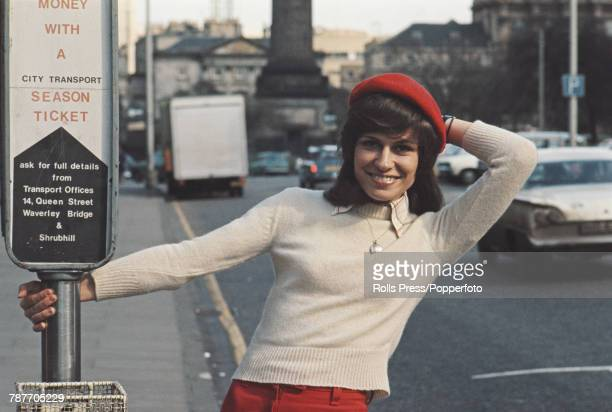 German singer Mary Roos posed on Princes Street prior to competing to finish in 3rd place for Germany with the song 'Nur die Liebe lasst uns leben'...
