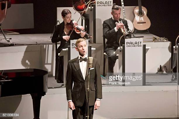 German singer Max Raabe performs live during a concert at the Admiralspalast on April 12 2016 in Berlin Germany