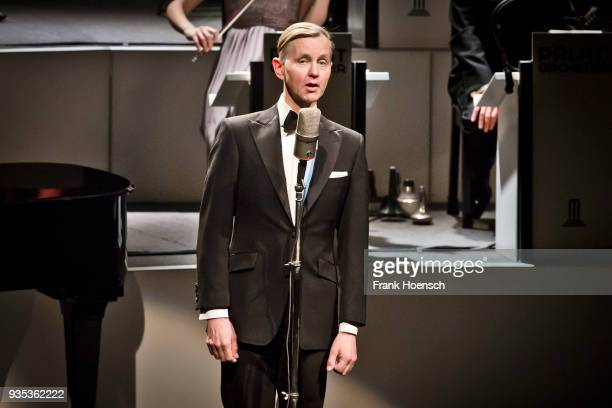 German singer Max Raabe performs live on stage during a concert at the Admiralspalast on March 20 2018 in Berlin Germany