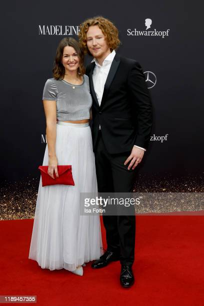 German singer Michael Schulte and his wife Katharina Mayer arrive for the 71st Bambi Awards at Festspielhaus BadenBaden on November 16 2019 in...