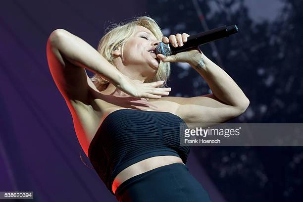 German singer Michelle performs live during the Schlagernacht des Jahres at the Waldbuehne on June 4 2016 in Berlin Germany