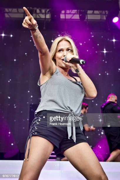 German singer Michelle performs live during the show 'Die Schlagernacht des Jahres' at the Waldbuehne on June 16 2018 in Berlin Germany