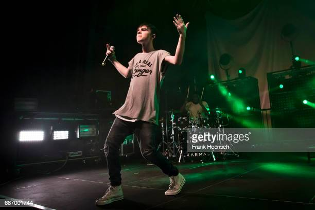 German singer Mike Singer performs live during a concert at the Huxleys on April 10 2017 in Berlin Germany