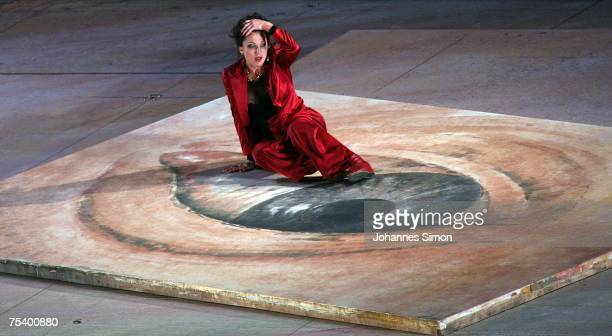German singer Nadja Michael performs as Tosca on the floating stage during the rehearsal of the opera Tosca by Giacomo Puccini on July 13 2007 in...