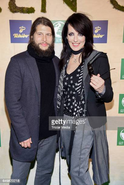 German singer Nena and her boyfriend Philipp Palm attend the Tchibo 'Ready for the Green Carpet' Fashion Show on March 8 2017 in Hamburg Germany