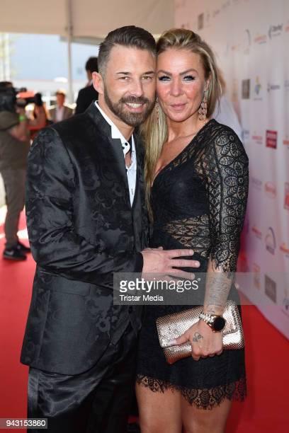 German singer Nic and his girlfriend Ela Grunert attend the 'Goldene Sonne 2018' Award by SonnenklarTV on April 7 2018 in Kalkar Germany