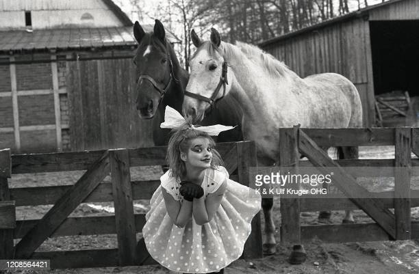 German singer Nina Hagen posed with a horse Germany circa 1980