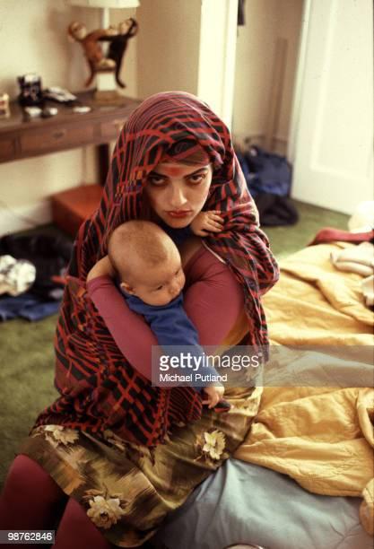 German singer Nina Hagen with her baby daughter Cosma Shiva Hagen at the Gramercy Park Hotel New York City 1981