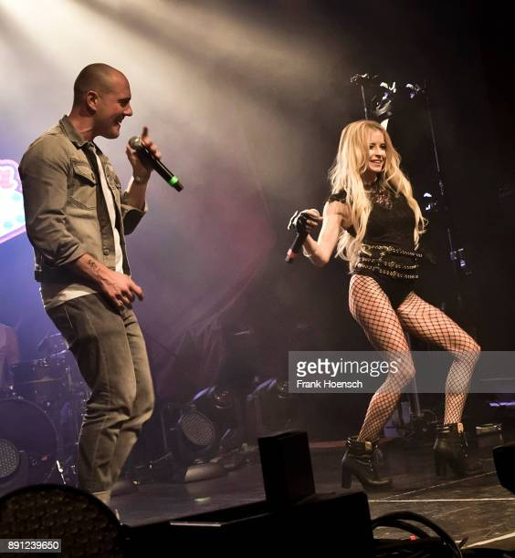 German singer Oliver Petszokat aka Oli P and Mia Julia perform live on stage during a concert at the Columbia Theater on December 12 2017 in Berlin...