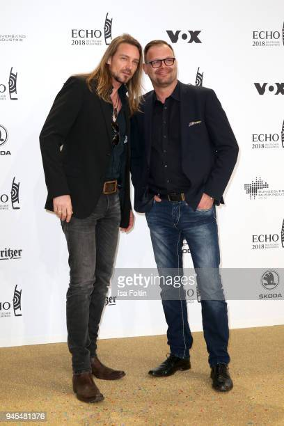 German singer Oliver Thomas and a guest arrive for the Echo Award at Messe Berlin on April 12 2018 in Berlin Germany