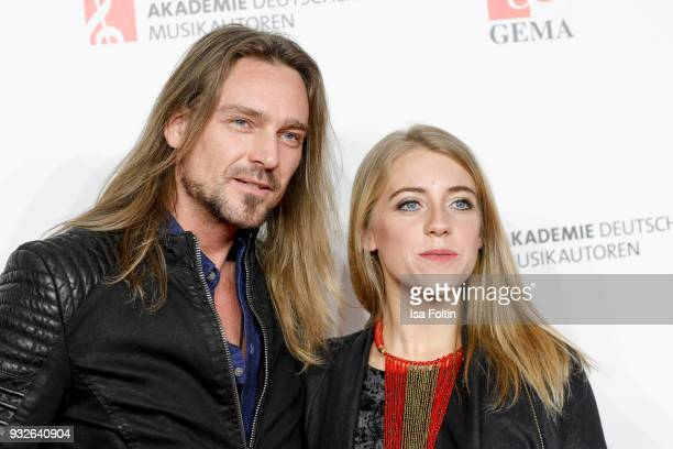 German singer Oliver Thomas and award winner AnnaMarlene Bicking during the German musical authors award on March 15 2018 in Berlin Germany