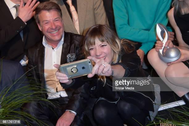 German singer Patrick Lindner and Maria Mummert alias Mieze Katz during the 9th GEMA Musikautorenpreis at Ritz Carlton on March 30 2017 in Berlin...