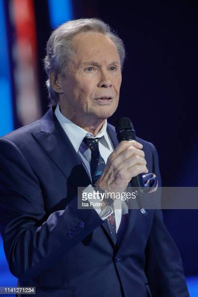 German singer Peter Kraus perfroms during the television show 'Willkommen bei Carmen Nebel' at Velodrom on May 4, 2019 in Berlin, Germany.