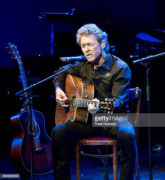 German singer Peter Maffay performs live during a tribute concert to Bob Dylan at the Wintergarten on May 24, 2016 in Berlin, Germany.