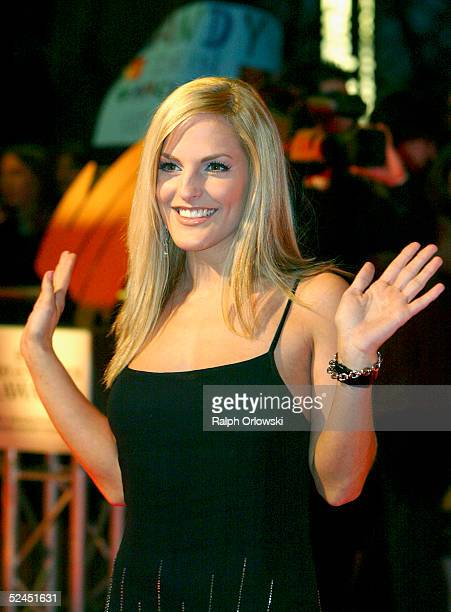 German singer Sandy Moelling arrives at Radio Regenbogen Award 2005 at Schwarzwaldhalle on March 18 2005 in Karlsruhe Germany