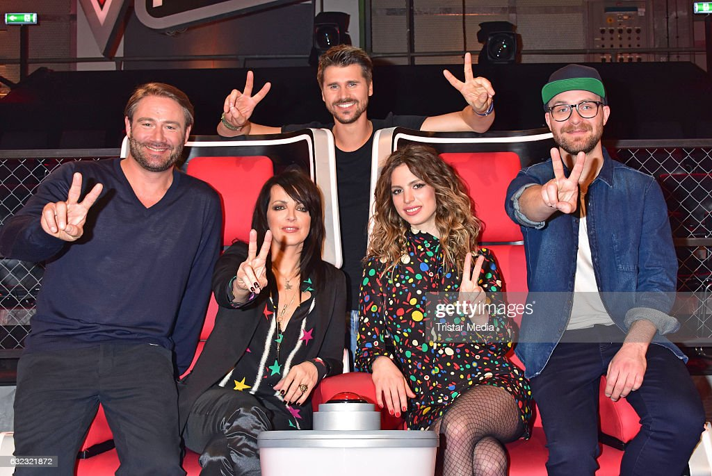 German singer Sasha, german singer Nena and her daughter Larissa Kerner, german moderator Thore Schoelermann and german singer Mark Forster during the 'The Voice Kids' photo call on January 21, 2017 in Berlin, Germany.