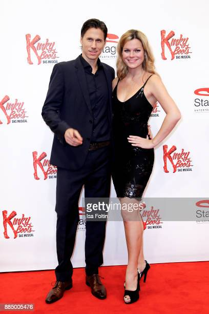 German singer Saskia Leppin and her partner HSVCoTrainer Frank Froehling attend the 'Kinky Boots' Musical Premiere at Stage Operettenhaus on December...