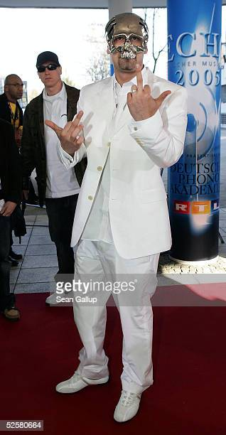German singer Sido arrives at the ECHO 2005 German Music Awards at the Estrel Convention Center on April 2 2005 in Berlin Germany
