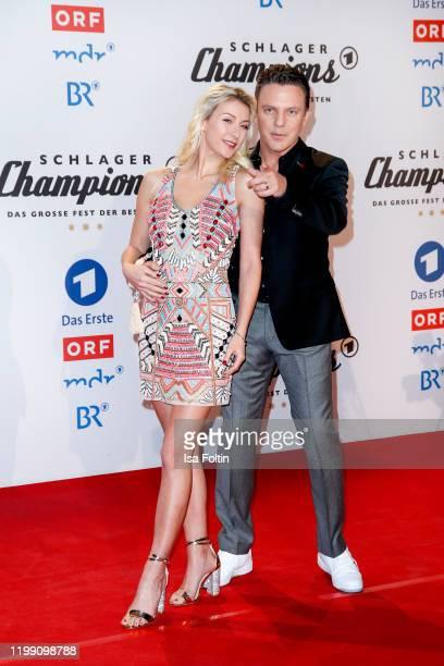 German singer Stefan Mross and his girlfriend AnnaCarina Woitschack during the television show Schlagerchampions Das grosse Fest der Besten at...