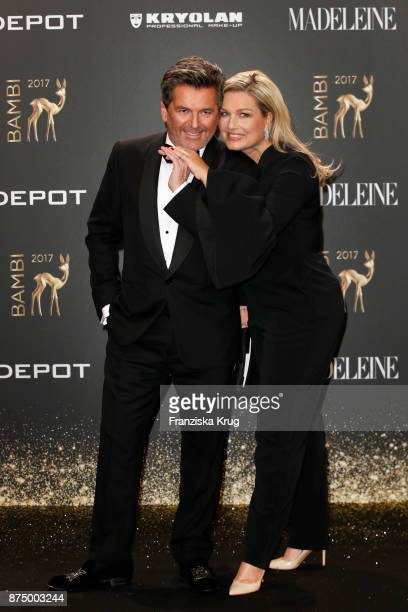 German singer Thomas Anders and his wife Claudia Anders arrive at the Bambi Awards 2017 at Stage Theater on November 16 2017 in Berlin Germany