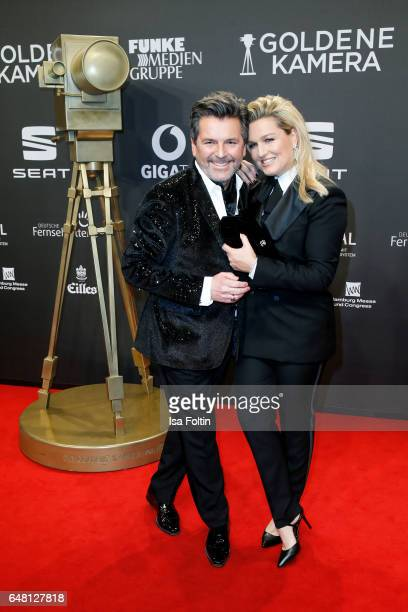 German singer Thomas Anders and his wife Claudia Hess arrive for the Goldene Kamera on March 4 2017 in Hamburg Germany
