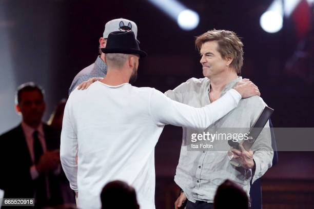 German singer Tilman Otto alias Gentleman of the band Beginner and german singer Andreas Frege alias Campino during the Echo award show on April 6...
