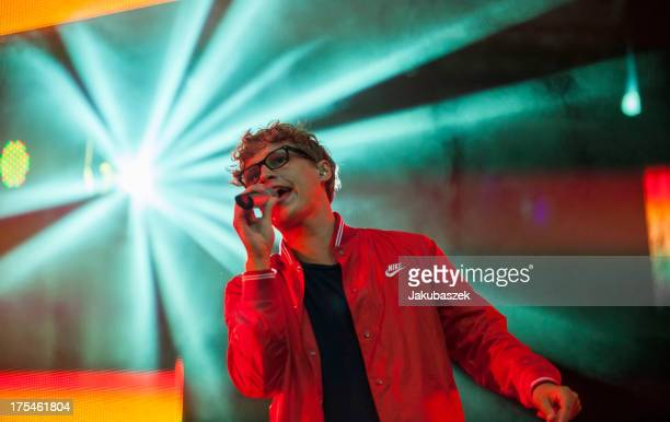 German singer Tim Bendzko performs live during a concert at the Waldbuehne on August 3 2013 in Berlin Germany