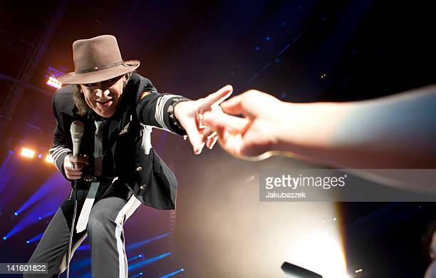 German singer Udo Lindenberg performs live during a concert at the O2 World on March 19 2012 in Berlin Germany