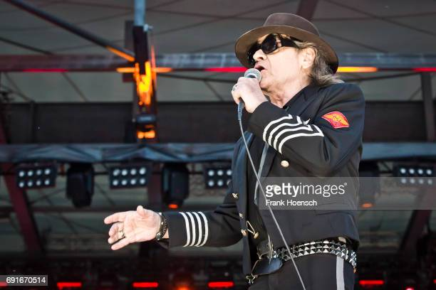 German singer Udo Lindenberg performs live on stage during a concert at the Waldbuehne on June 2, 2017 in Berlin, Germany.