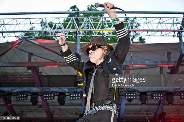 German singer Udo Lindenberg performs live on stage during a concert at the Waldbuehne on June 2 2017 in Berlin Germany