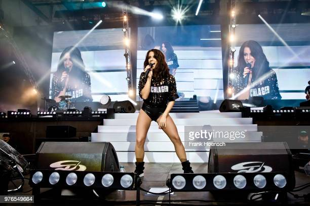 German singer Vanessa Mai performs live during the show 'Die Schlagernacht des Jahres' at the Waldbuehne on June 16 2018 in Berlin Germany