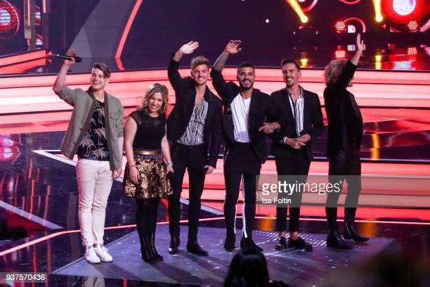 German singer Vincent Gross German singer Laura Wilde and the band Feuerherz during the tv show 'Willkommen bei Carmen Nebel' on March 24 2018 in Hof...