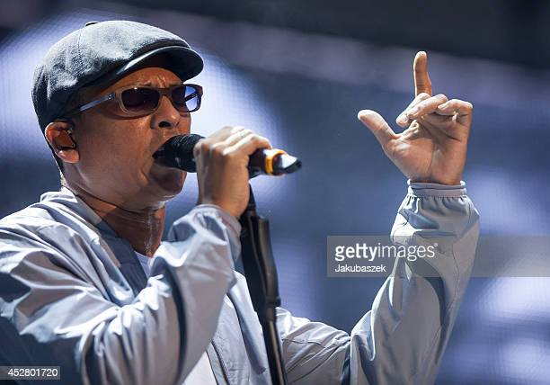 German singer Xavier Naidoo performs live during a concert at the Waldbuehne on July 27 2014 in Berlin Germany