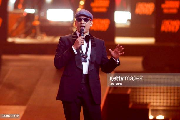 German singer Xavier Naidoo presents the Echo award show on April 6 2017 in Berlin Germany