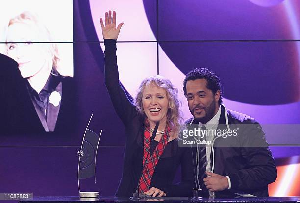 German singers Annette Humpe and Adel Tawil of the band 'Ich Ich' speak after receiving their Best Band National Award at the Echo Awards 2011 at...