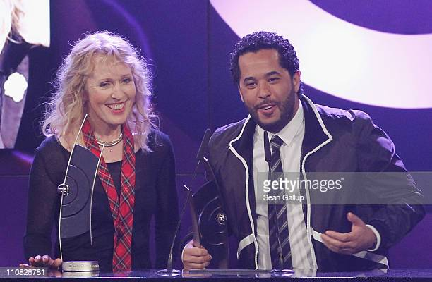German singers Annette Humpe and Adel Tawil of the band Ich Ich speak after receiving their Best Band National Award at the Echo Awards 2011 at...