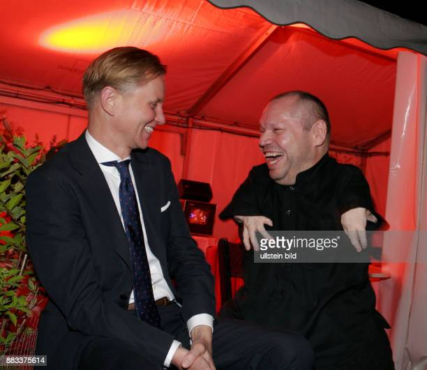 German singers Max Raabe and Thomas Quasthoff during the anniversary party 20 years 'Bar jeder Vernunft' 10 years 'Tipi' at the 'Tipi' in Berlin