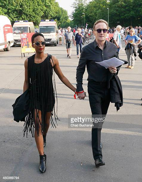 German singer/songwriter Marius MuellerWesternhagen and girlfriend Lindiwe Suttle sighted at the Rolling Stones Concert at the Waldbuehne outdoor...