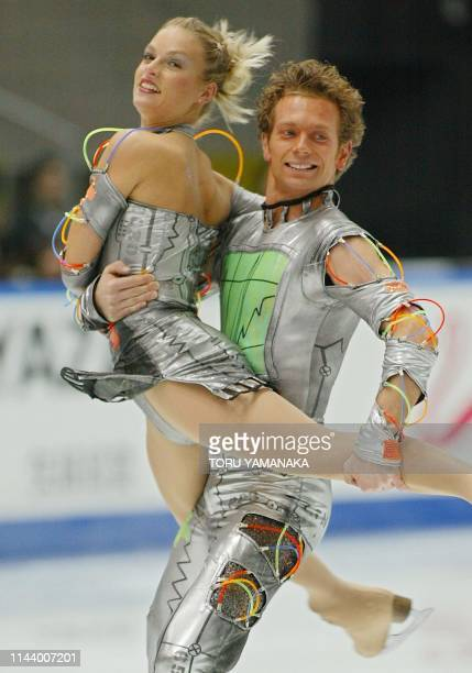 German skaters Kati Winkler and Rene Lohse perform during the free dance ice dancing event in the NHK Trophy figure skating competition in Kyoto...
