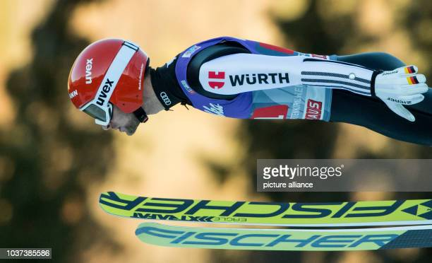 German ski jumper Markus Eisenbichler during the final run at the Four Hills Tournament in Nordic skiing/ski jumping in GarmischPartenkirchen Germany...