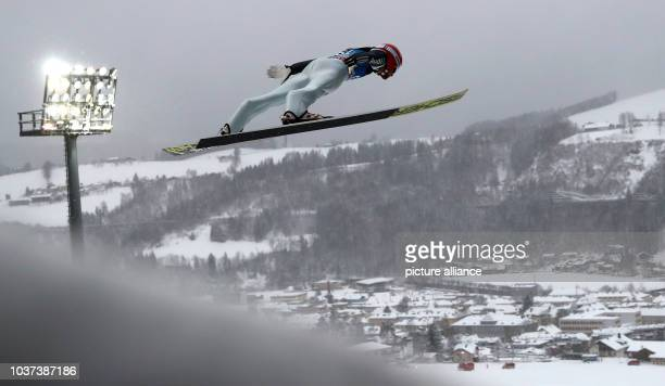German ski jumper Markus Eisenbichler jumps during the qualification from the Paul Ausserleitner ski jump at the Four Hills Tournament in Nordic...