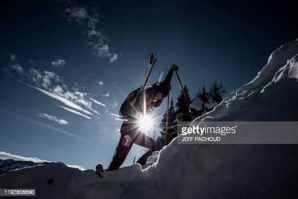 German skier Sophia Wessling competes during the individual women's ski mountaineering 2020 Lausanne Winter Youth Olympic Games race on January 10,...