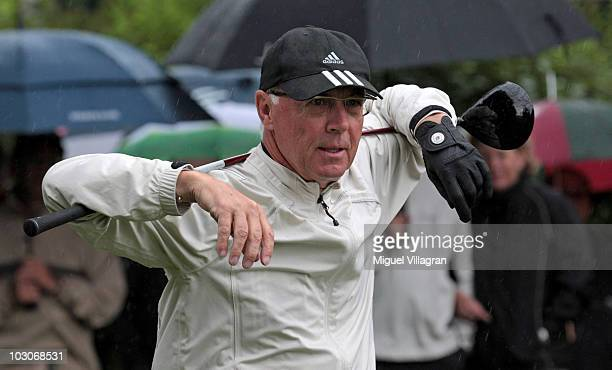 German soccer legend Franz Beckenbauer stretches prior to the start of the Kaisercup Golf tournament on July 24 2010 in Bad Griesbach Germany