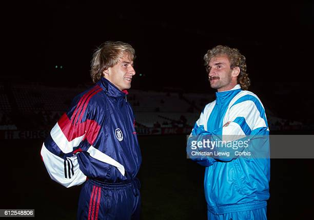 German soccer legends Jurgen Klinsmann and Rudy Voeller when they played in the French Championship