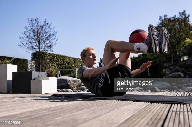 German soccer player Luke Hemmerling trains at home on April 17, 2020 in Hattingen, Germany. Hemmerling currently plays for Third League football...