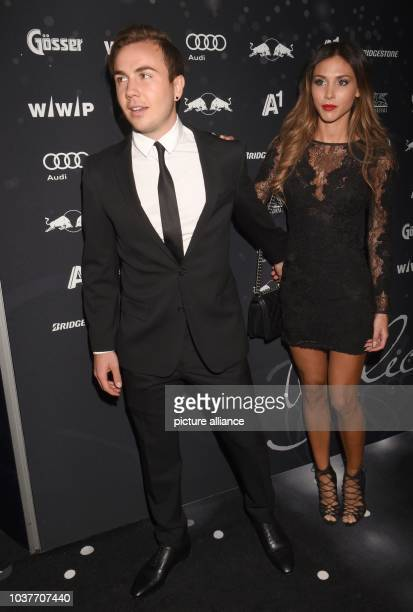 German soccer player Mario Goetze and his partner model AnnKathrin Broemmel arrive for the Kitz Race Club Party 2015 in Kitzbuehel Austria 24 January...