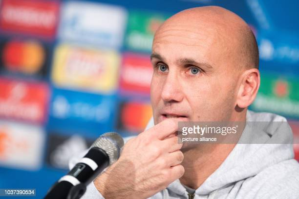 German soccer team Borussia Moenchengladbach coach Andre Schubert at a press conference in the Borussia Park stadium in Moenchengladbach, Germany, 22...