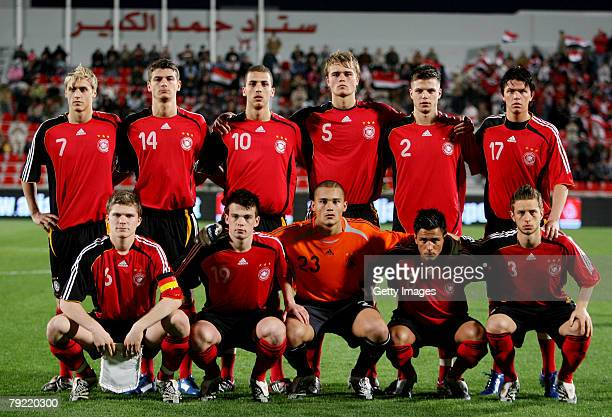 German soccer team pose for a group photo ahead of the U19 international friendly match between Germany and Egypt at theAlArabi stadium on January 25...