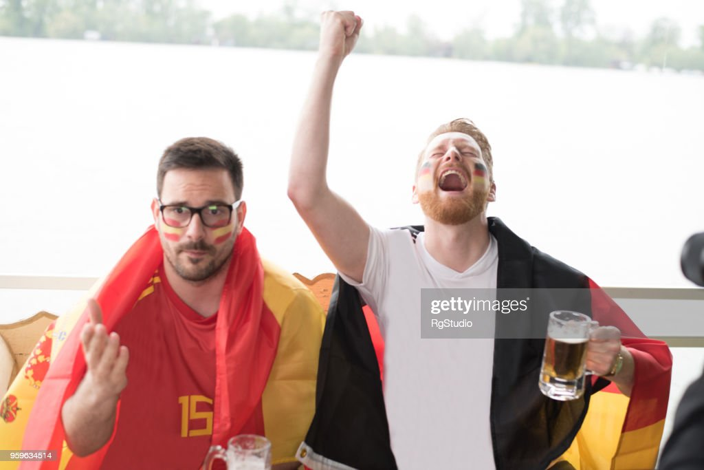 German soccer team supporter shouting in excitement : Stock Photo